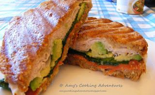 Amy's Cooking Adventures: Turkey & Avocado Panini on Onion Bread