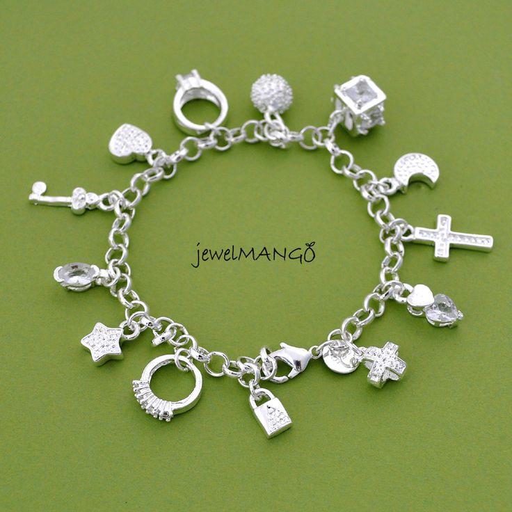 silver charm bracelet cross ring