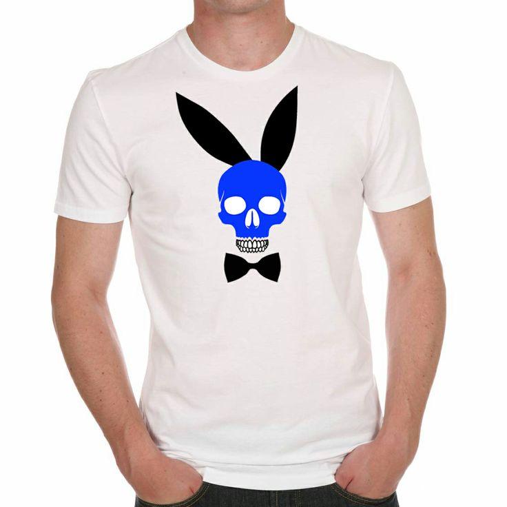 Rabbit skull (Bleu ) existe en rose ou en jaune. Tailles : S / M / L - T-shirt 100% coton H / F Prix : 19€