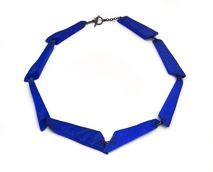 Yoko Shimizu Necklace: Blue Thin Irregular Shapes, 2014 Resin, pigment, silver
