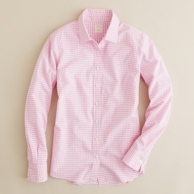 j crew pink gingham perfect shirt