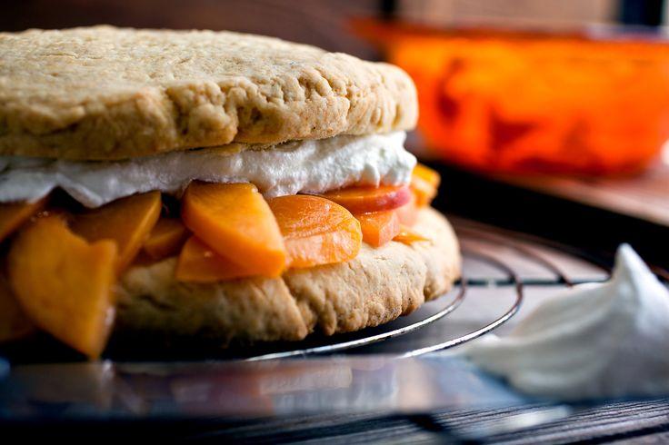 Brown Sugar Shortcake with Warm Bourbon Peaches by Melissa Clark
