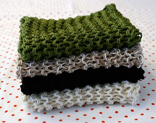 ... dishcloths, both super easy! Knitted with double strands of yarn
