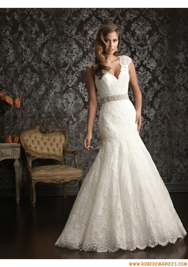 Robe de mariage dentelle perles col V  Robe de mariée 2013  Pintere ...