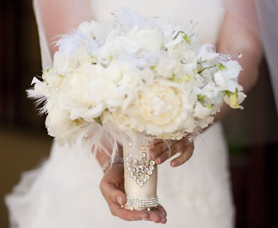 Wedding Bouquets With Feathers And Crystals : Feather crystal bridal bouquet our wedding