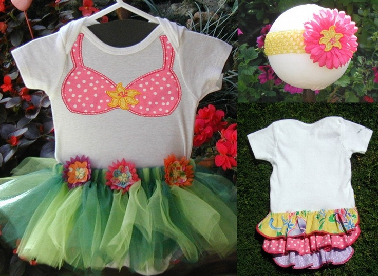 Hawaiian Hula Bikini Onsie Outfit with Hibiscus Flower Headband for Baby Girl. $31.00, via Etsy.