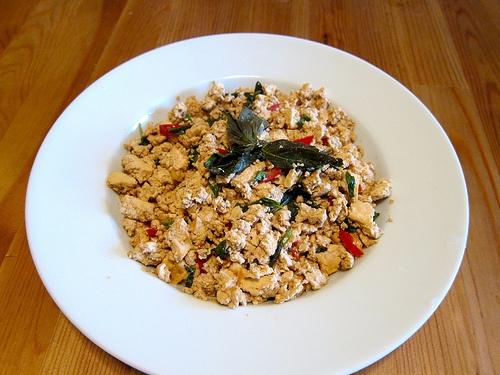 Sriracha-Spiced Stir-Fried Tofu With Eggplant, Red Bell ...
