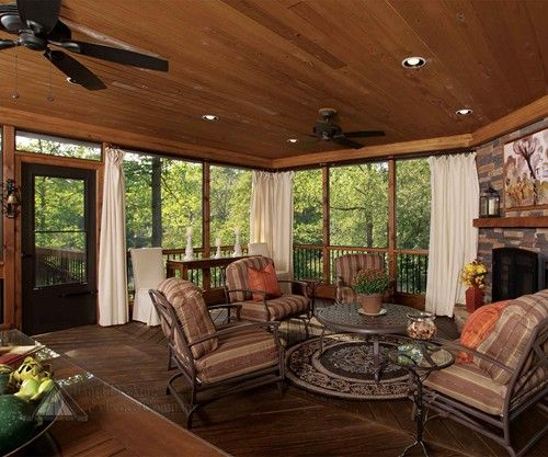 Screened deck with fireplace my full house pinterest for Screened in porch fireplace ideas