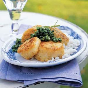 Cornmeal-Crusted Scallops with Mint Chimichurri #quick #ThomasDoesn ...