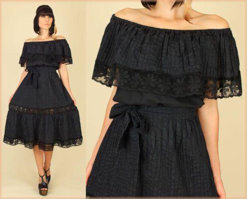 Vintage 70 39 s black lace off shoulder mexican peasant for Sugar skull wedding dress