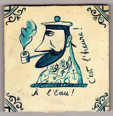 Paul Bommer      East London, United Kingdom  'Delftware' Tile - Hello Sailor