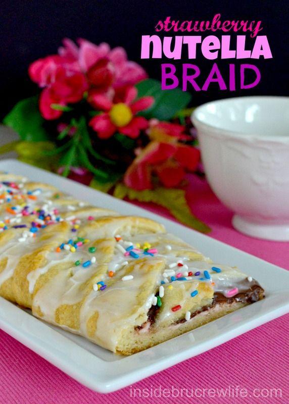 Strawberry Nutella Braid - 3 ingredient breakfast braid. #pillsbury # ...