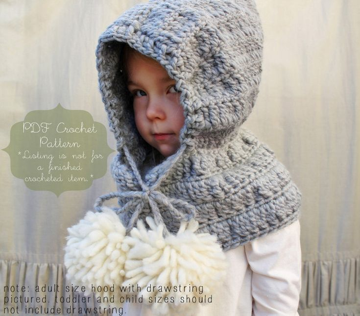 Crochet Pattern: The Celeste Hooded Cowl -Toddler, Child ...