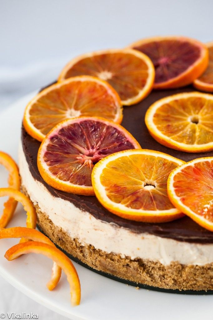 Blood Orange Cheesecake (no bake)-creamy filling flavoured with a ...