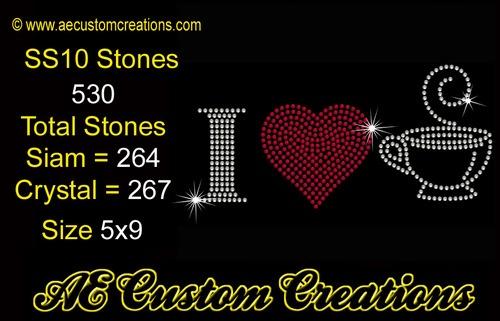 love Coffee Rhinestone Template download from AE Custom Creations ...