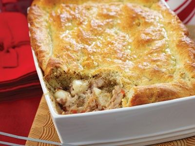 Turkey Pot Pie with a Savory Biscuit Topping