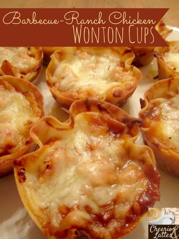 Barbecue-Ranch Chicken Wonton Cups Recipe...Oh My Gosh!! These are super fast, super simple and definitely Superbowl food!