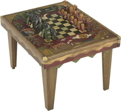 Coffee Table With Chess Painted Refinished Repurposed Furniture
