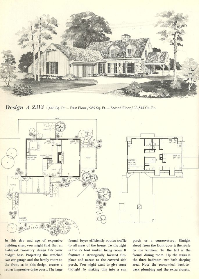 Vintage house plans early colonial vintage house plans for Antique colonial house plans