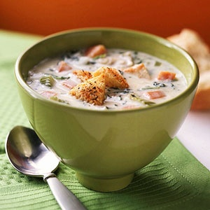 Chicken artichoke Brie soup...could also use leftover turkey after ...
