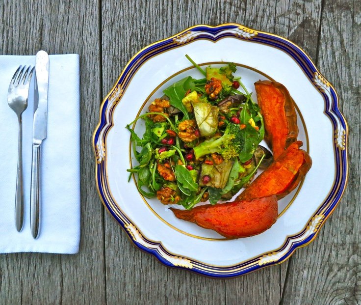 Toasted walnut, aubergine (eggplant) and pomegranate salad: vegan