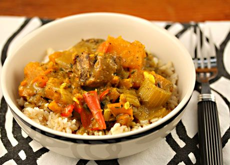 Caribbean chicken curry with chunks of butternut squash and red bell ...