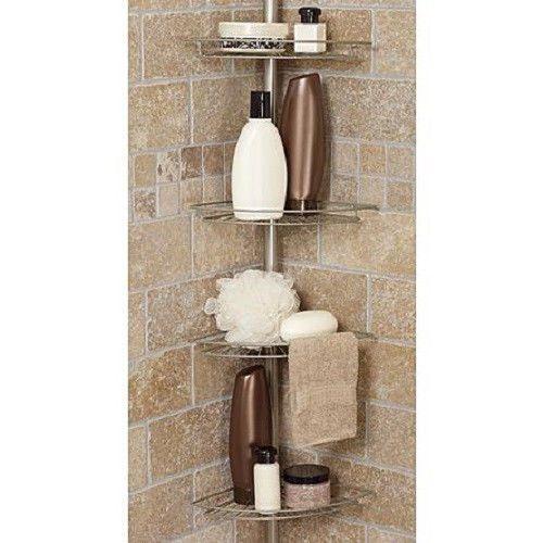 Bath Shower Caddy Corner Tension Rod Bathtub Soap Shampoo Organizer ...