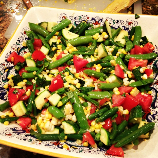 and Herb Summer Salad with grilled zucchini, tomatoes, basil, oregano ...
