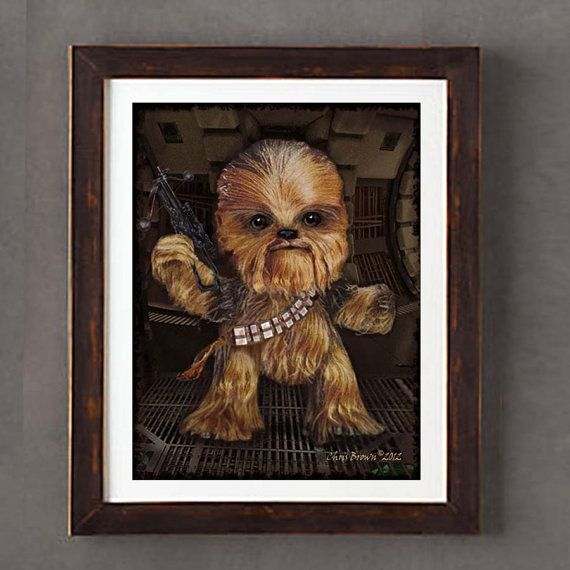 10 giclee print star wars fan art science fiction art child s room artBaby Chewbacca Art