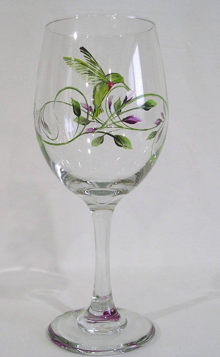 Humming Bird Wine Glass Decorative Painting Pinterest