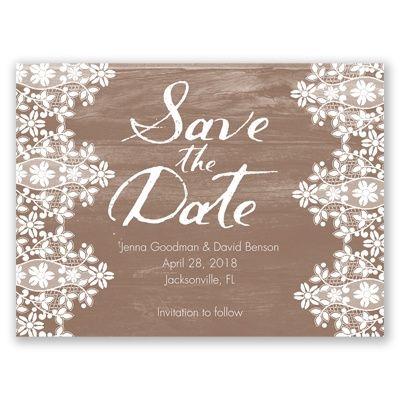 Oak & Lace Save the Date by David's Bridal #davidsbridal #weddings #lace