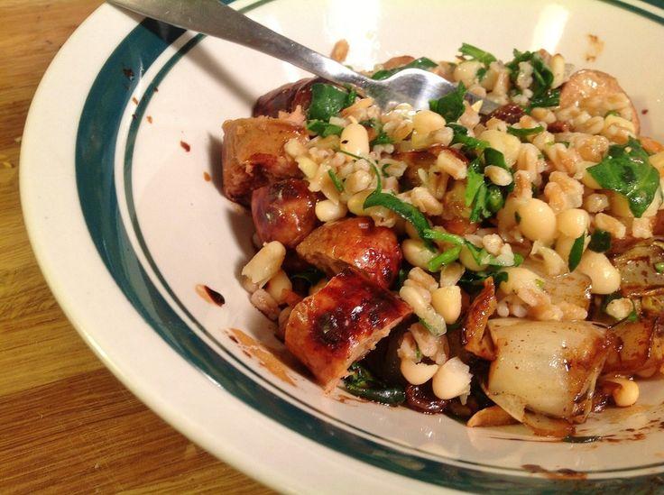 Farro & White Bean Salad with Chx Apple Sausage recipe