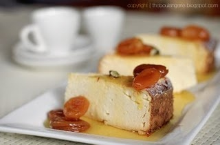 Baked Ricotta Cheesecake with Saffron Apricots. Gluten-free!
