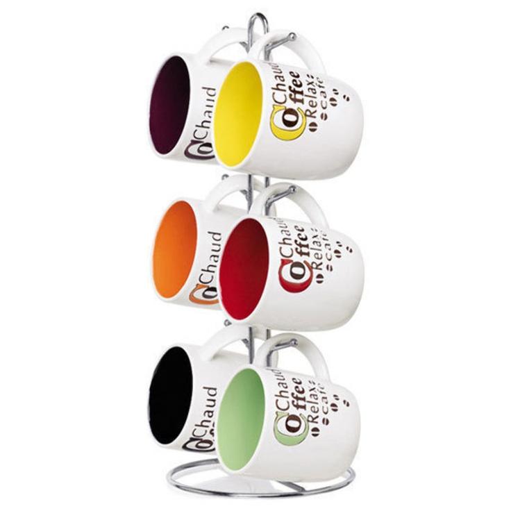 "Home Basics 6-Piece Stoneware ""Coffee"" Mug Set - Beyond the Rack"