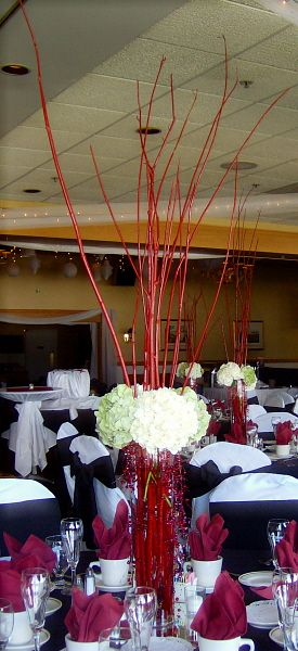 Red Branched Centerpiece with Hydrangea Tufts and Red Beading
