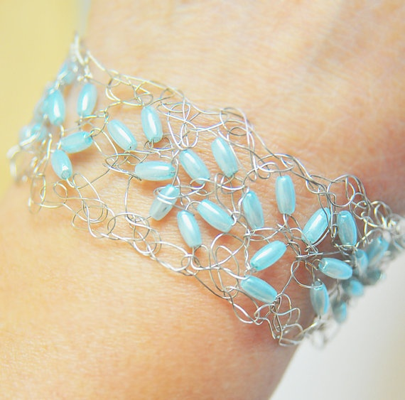 Crocheting With Wire : Wire crochet bracelet with blue beads - silver plated wire, cuff, wom ...