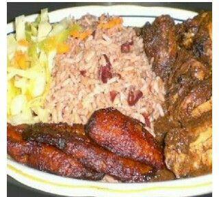 Curry chicken, plantains, coconut rice and peas,salad....Jamaican ...