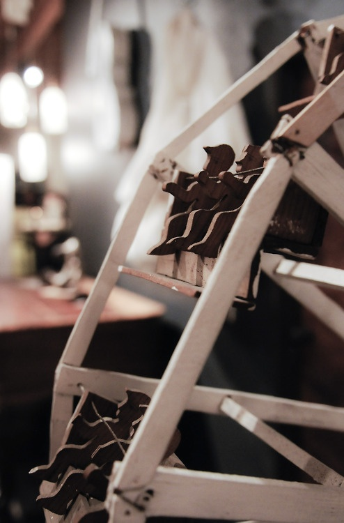 Miniature Wooden Ferris Wheel. Dollhouse Style.