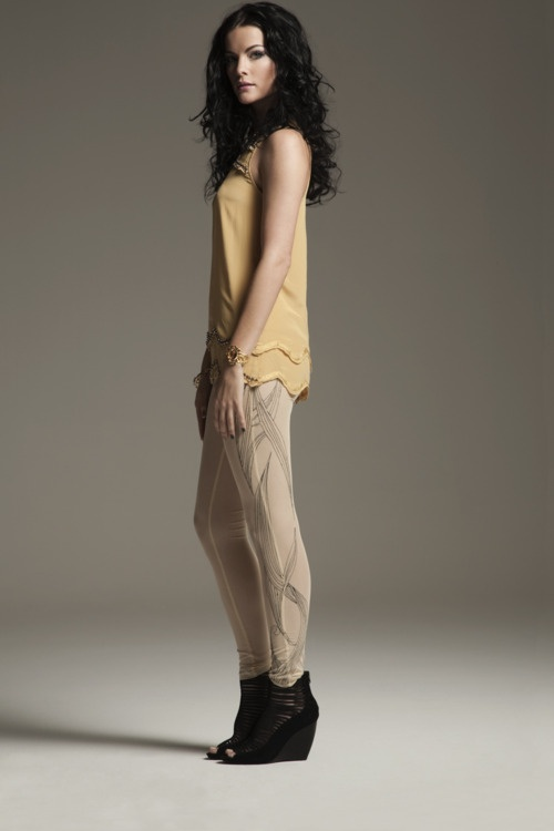 Jaimie Alexander wearing Mia's Trapeze wedge.