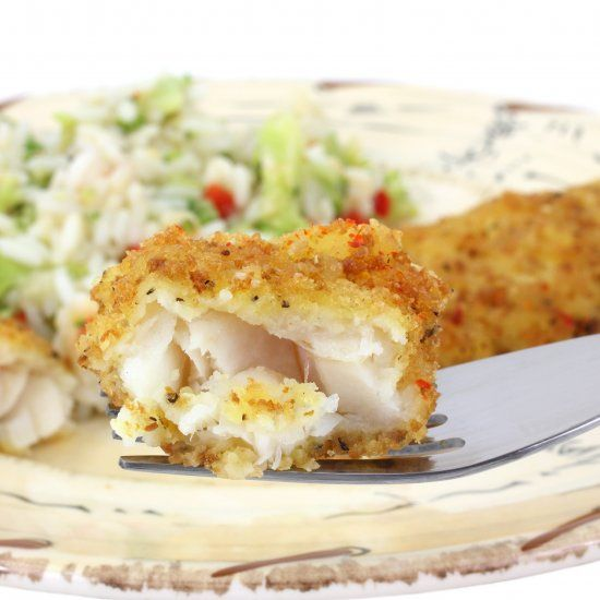 "Bake ""fried"" fish using panko with brown rice and broccoli as a side"