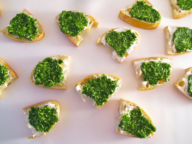 rocket pesto goat's cheese crostini   new year's eve / appetizers   P...