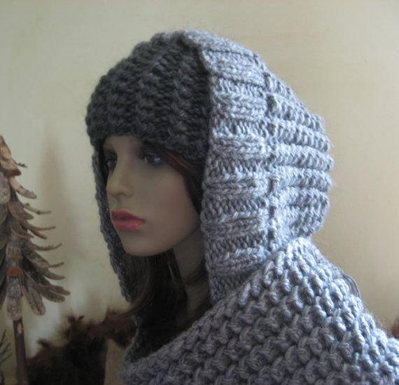 Chunky Hooded Scarf (hoodie) PDF Knitting Pattern - Now with FREE mat?