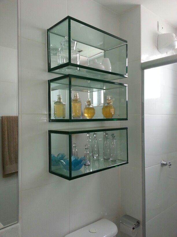 Nichos de vidro para banheiro  Decor Rio  Pinterest -> Nicho Para Banheiro Art Home
