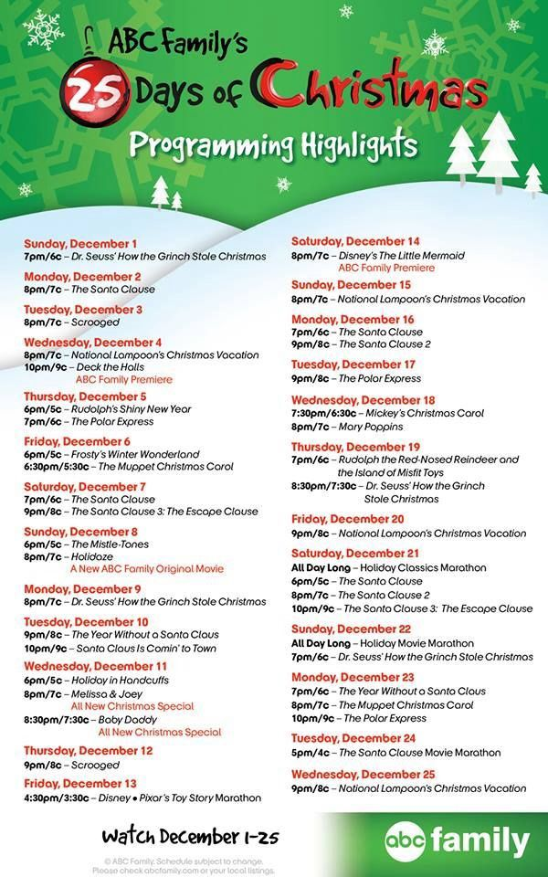 ABC Family 25 Days of Christmas movie line up 2013