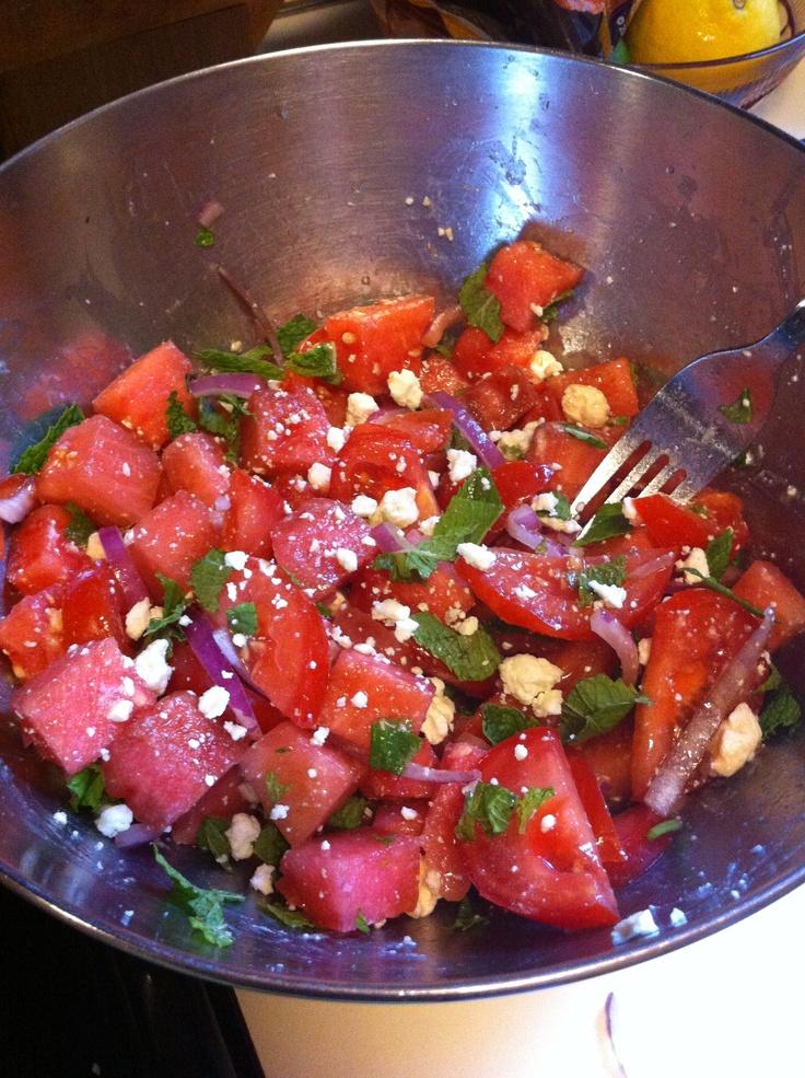 + tomato salad. Watermelon Heirloom tomatoes Red onion Mint Feta ...