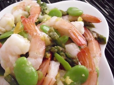 Shrimp, Fava Beans & Asparagus with Meyer Lemon Dressing