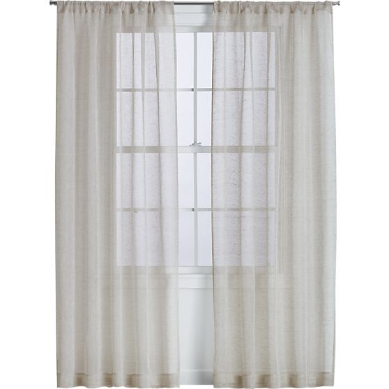 Natural linen sheer 52x108 curtain panel in curtains crate and