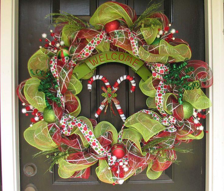 Mesh wreath for front door christmas pinterest for Front door xmas wreaths