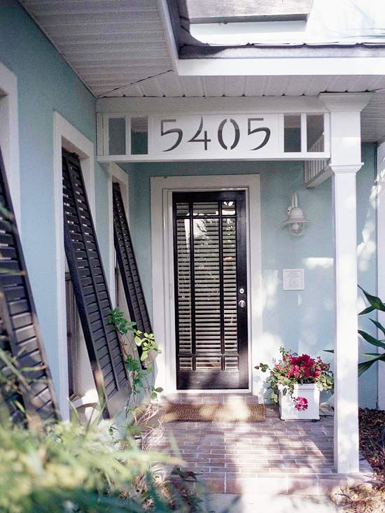 Add a personality to your front door with architectural details to make you entryway pop. More fun front doors: http://www.bhg.com/home-improvement/exteriors/curb-appeal/enhance-front-entry/?socsrc=bhgpin031513architecturedoor