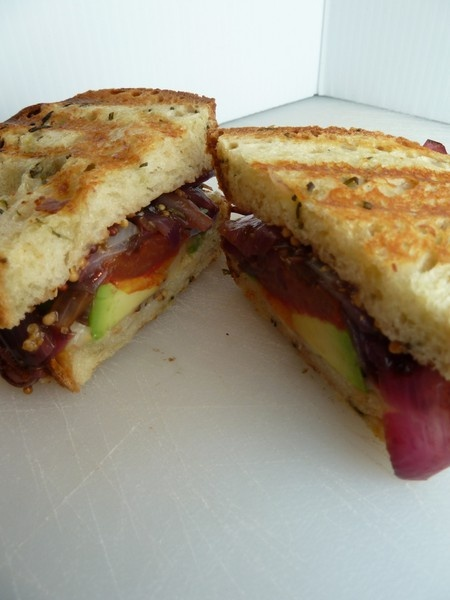 ... Cheese Toasty with Grilled Tomato, Roasted Balsamic Onions and Avocado